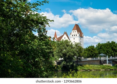 Image of bank of Danube with castle in Ingolstadt, Germany in summer