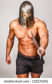 Image of barbarian who is provoking for a duel
