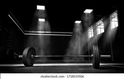 Image of barbell in the gym. The concept of sport and healthy lifestyle. Mixed media