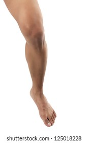 An image of a bare leg against white background