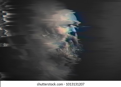 An image of a bearded bald man glitch