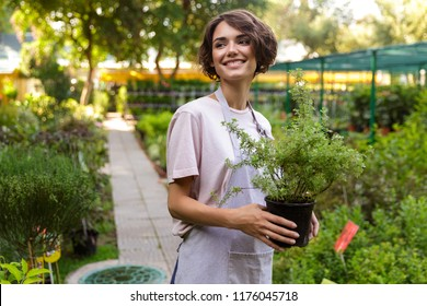 Image of beautiful cute woman gardener standing over flowers plants in greenhouse holding plants