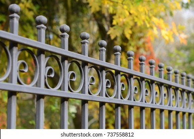 Image of a Beautiful decorative cast metal wrought fence with artistic forging.