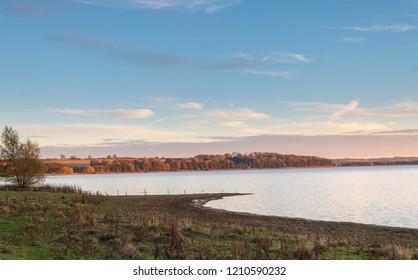 An image of the beautiful Eyebrook Reservoir, taken on an autumn evening, Rutland, England, UK