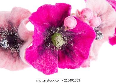 image of a beautiful flower Malva souvenir made of wool