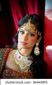 Image of a beautiful Indian bride traditionally attired