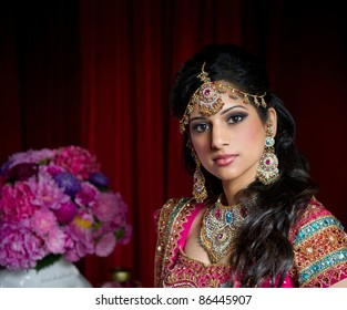 Image of a beautiful Indian bride traditionally dressed