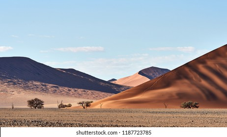 Image of the beautiful Namib desert in Namibia, with its characteristic red dunes.
