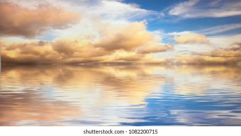 Image Of a Beautiful Sky that meets the water with a beautiful reflection