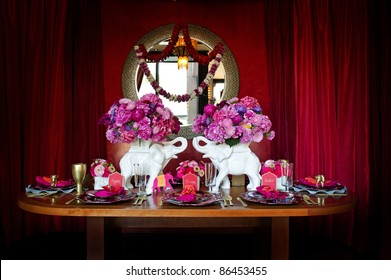 Image of a beautiful table setting for an Indian weding