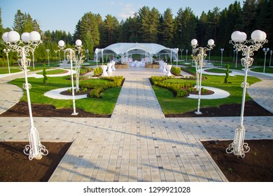 Image of the beautiful wedding pavilion among forest