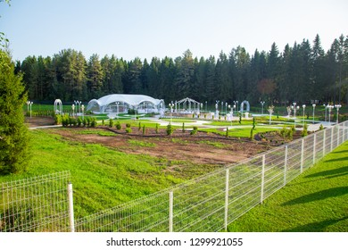 Image of the beautiful wedding tent among the forest
