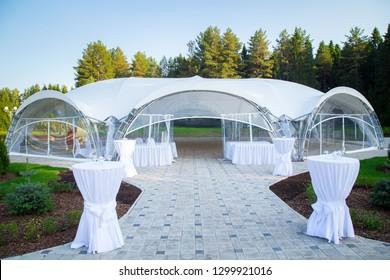 Image of the beautiful white wedding gazebo