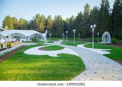 Image of the beautiful white wedding tent in forest