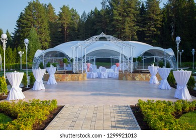 Image of the beautiful white wedding tent