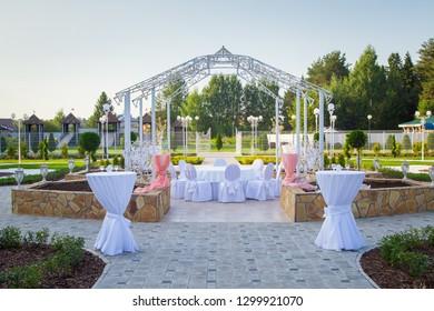 Image of the beautiful white wedding terrace