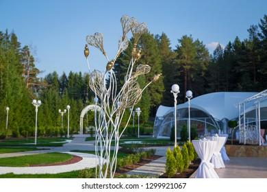 Image of the beautiful white wedding veranda