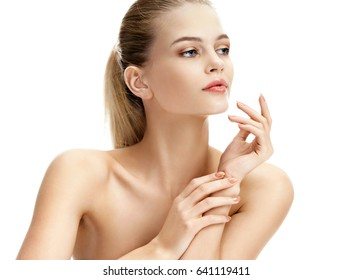Image of beautiful young woman on white background. Closeup. Youth and skin care concept