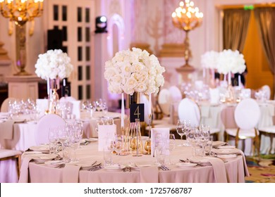 Image of a beautifully decorated wedding venue. Indoor