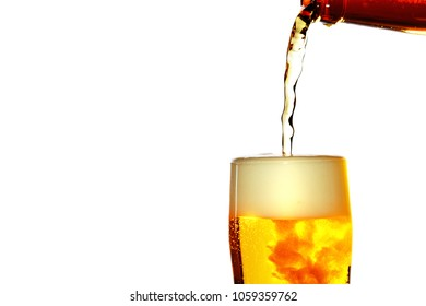 Image of beer, splashing foam