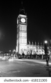 Image of Big Ben in London in the evening shot in black and white.