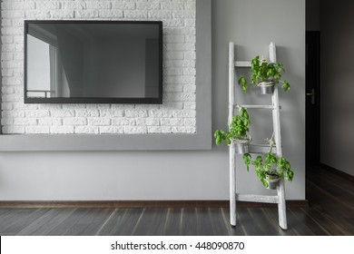 Image of big tv hanging on a white brick wall and flower stand made from old wooden ladder
