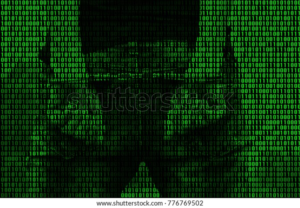 An image of a binary code from bright green figures, through which the image of an arrested and handcuffed person