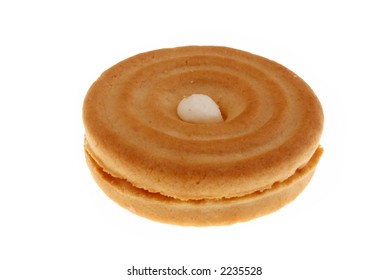image of a biscuit captured over white