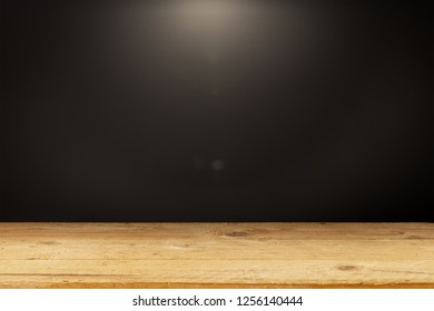 An image of a black background light wooden table