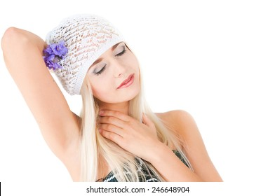 The image of the blond girl with a bouquet of violets on a white background
