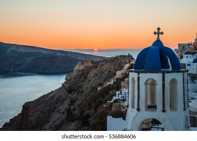 Image of Blue dome of white church in Oia, Santorini, Greece