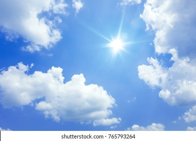 An image of a blue sky with sun and clouds background