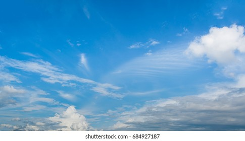 image of blue sky and white cloud on day time for background usage.(horizontal).