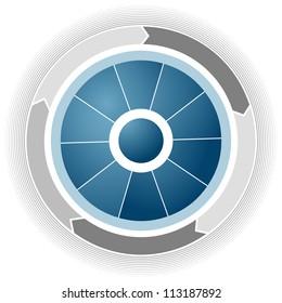 An image of a blue wheel.