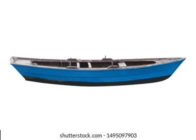 image of blue wooden fishing boat isolated on white background