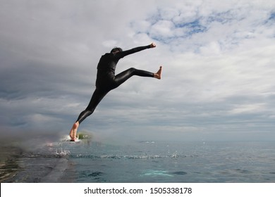 image bluer,jumping into the swimming pool