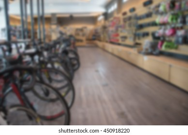 image of blur bicycle shop for background usage.