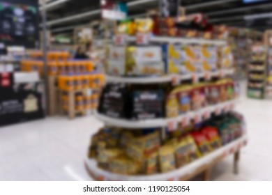 Image blurred and defocus for background product layout in supermarket at department store.
