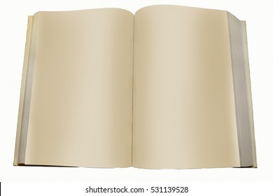 The image of a book with blank pages isolated on white background