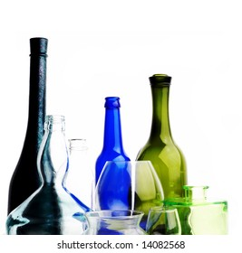 An image of bottles of wine on white