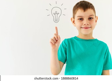 Image Boy on white background is isolated, have an new idea image of a light bulb