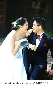 Image of a bride and groom who are deeply in love