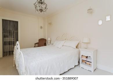 Image of a bright ecru bedroom of a teenage princess