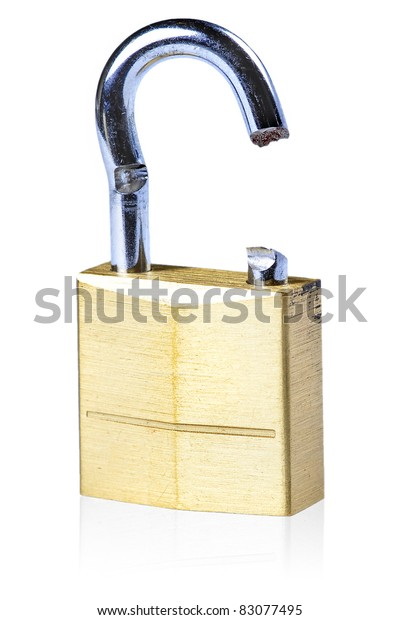 Image of a broken gold lock with a white background