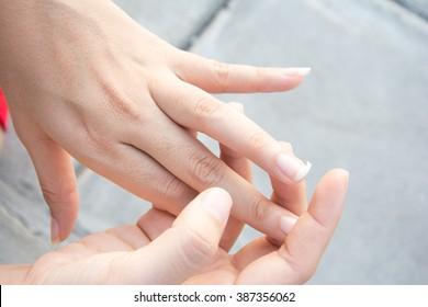 Image of a broken nail hand