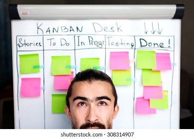 Image of brooding or success project manager background kanban board desk. Kanban system methodology as agile methodology for progressive project managers and teams.