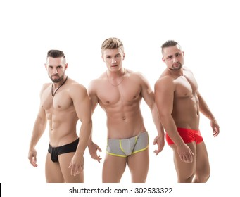 Image of brutal guys posing with naked torsos