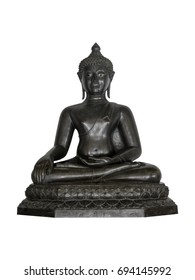 An image of the Buddha sitting cross-legged in the attitude of subduing Mara, in the style of the Chieng Saen period. Isolated Buddha Image on white background with clipping path.