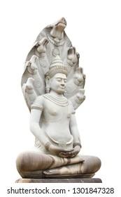 Image of buddha statue on white background