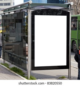 An image of a bus stop with a blank billboard for your advertising situated in the turkish city of Istanbul.